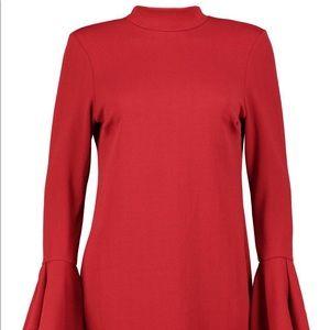 Boohoo Red Long Sleeve Shift Dress